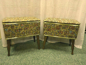 3076M Vtg PAIR 2 Matching BURLINGTON Table Stools Benches Sewing Boxes Ottomans $244.55