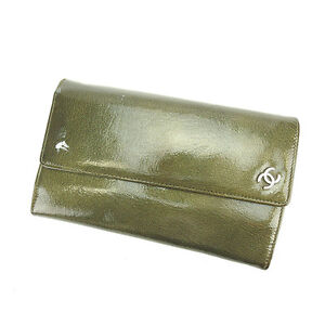 Chanel Wallet Purse Long Wallet COCO Green Silver Woman Authentic Used P214