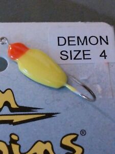 Demon Ice Jig Custom Jigs amp; Spins size 4 hook fishing Pink Yellow Chartreuse