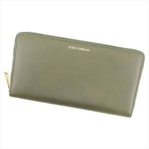 Dolce&Gabbana Wallet Purse Long Wallet Green leather Woman Authentic Used T9166