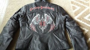 Women's Harley Davidson Road Angel Leather Jacket With Hoodie Size Small