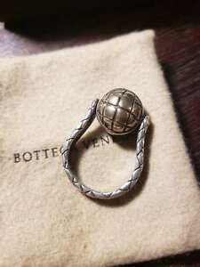 NEW BOTTEGA VENETA STERLING SILVER INTRECCIATO BALL RING SZ15