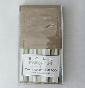 Home Environment 100% Rayon From Bamboo 2 Pack Standard Pillowcase Set Brown
