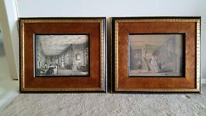 FRAMED ANTIQUE VICTORIAN LITHOGRAPHS PAIR $325.00
