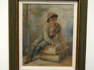 Antique VICTORIAN OIL PAINTING OF BOY SITTING ON BOXES SIGNED $250.00