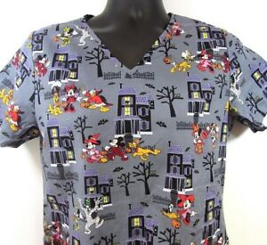 Disney Women's Scrub Top Small Halloween Mickey Minnie Pluto Trick or Treat
