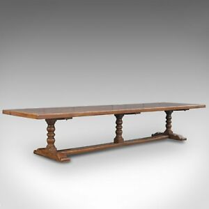 Very Large English Refectory Table in the Jacobean Manner 14 Foot Long Seats 20