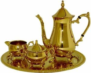 Gold Plated   Coffee Set with Tray