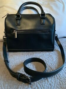 Barneys New York Black Leather Handbag EUC Authentic with cross body strap