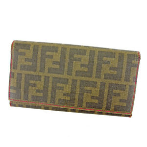 Fendi Wallet Purse Long Wallet Zucca Green Black Woman Authentic Used S614