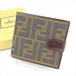 Fendi Wallet Purse Bifold Zucca Green Black Woman unisex Authentic Used T4445