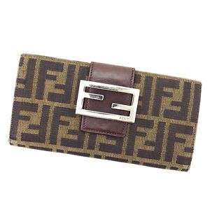 Fendi Wallet Purse Zucca Green Black Woman unisex Authentic Used A1642