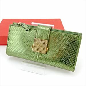 Valentino Garavani Wallet Purse Green Gold Woman Authentic Used T5774