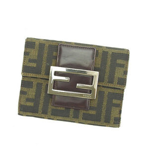 Fendi Wallet Purse Trifold Zucca Green Black Woman Authentic Used P225