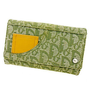 Dior Wallet Purse Trotter Green Beige Woman unisex Authentic Used T2944