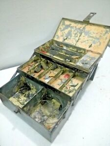 Old Vintage Fish Tackle Box And fish tool Box 13 CHEST( step)