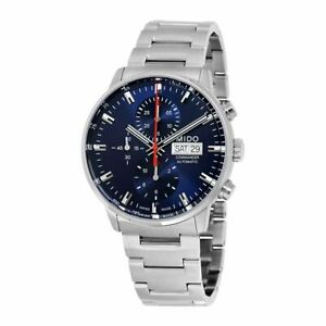 Mido Commander II Silver  Blue Stainless Steel Automatic Analog Men's Watch M01