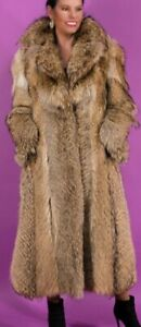 SALE COYOTE Fur Coat full length size SMALL
