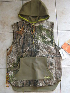 Cabelas Youth Boys Girls Camo Hunting Hooded Vest 2XL XXL 20 Mens Small Medium