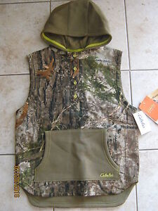 New Cabelas Youth Boys Girls Camo Hunting Adventure Hooded Vest XLarge 16 18 XL