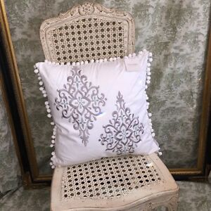 NEW CHIC POM POM FRINGE THROW PILLOW w SILVER amp; BLUE EMBROIDERED DAMASK 20x20