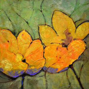 Large Art Canvas Original Acrylic Flowers Floral Painting. Abstract Wall Decor $280.00