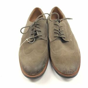 NWOB Mens 8 Clarks Broyd Wing Olive Suede Oxford Shoes Wingtip Dress $64.99