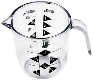1 Cup Liquid Measuring Cup Metric and US Units Measurement Clear Durable Plastic