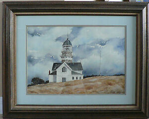 Original Watercolor Painting quot;N E Lighthousequot; Signed Talented Artist 23 X 29 $295.00