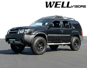 WellVisors For 99 04 Nissan Xterra BLACK TRIM Side Window Visors Rain Guards