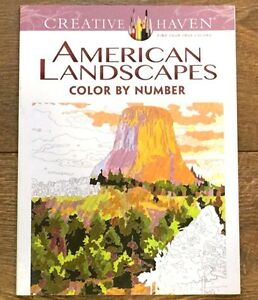 ADULT COLORING BOOK AMERICAN LANDSCAPES COLOR BY NUMBER CREATIVE HAVEN