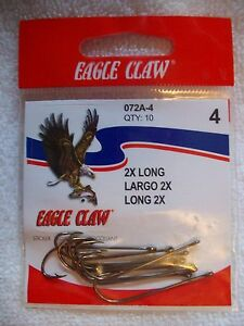 Eagle Claw 072A 4 Classic Size 4 Bronze Fishing Hooks 2X long 10 count Pack $3.85