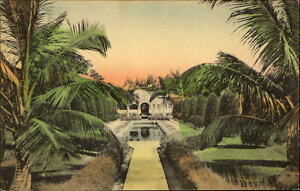 Large house in tropical Winter Park Florida reflecting pool hand colored ~ 1929