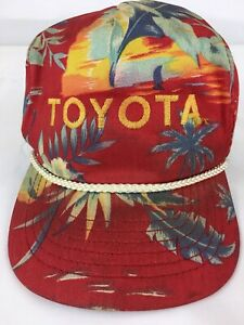 Rare! Vtg. 80's Toyota Red Tropical Trucker Hat San Sun Products Thin Strap Back
