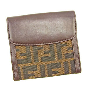 Fendi Wallet Purse Zucca Brown Green Woman unisex Authentic Used T405