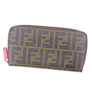 Fendi Wallet Purse Long Wallet Zucca Green Black Woman Authentic Used T4175