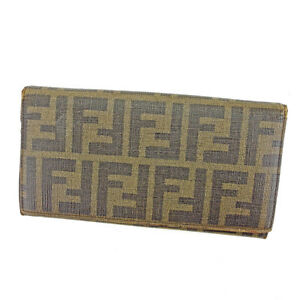 Fendi Wallet Purse Zucca Green Black Woman unisex Authentic Used S615