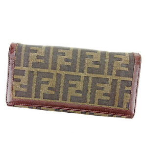 Fendi Wallet Purse Zucca Green Black Woman unisex Authentic Used T2329