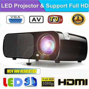 7000Lumens 1080P Full HD 3D LED LCD Micro Projector Home Theater HDMI VGA USB US