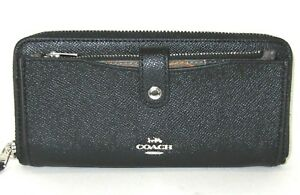 Coach F32154 Multifunction Wallet Black Leather Wild Camouflage Green Insert NWT