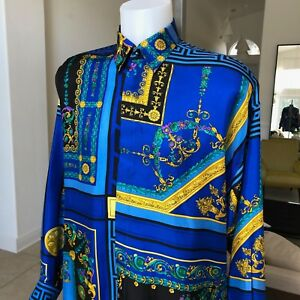 vintage V2 by VERSACE blue & black cotton shirt Barocco & Floral size III  M