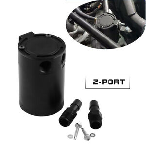 2 Port Oil Catch Can Tank Baffled Air-Oil Separator Black 5OZ Universal Anodized