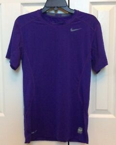 Mens Nike Pro Combat Core 2.0 Fitted Short Sleeve Shirt Purple 449787-546 Small