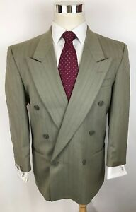 Perry Ellis Beige Striped Slim Fit Double Breasted Wool Suit Men 40S 34x27 Mint!