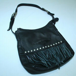 GORGEOUS HARLEY DAVIDSON LEATHER PURSE FRINGE WITH STUDS 💀VINTAGE - MINT COND.