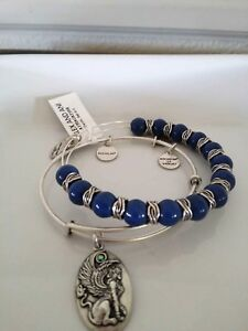 ALEX AND ANI Denim Sphinx Beaded Bangle silver Bracelet Set of Two NWT $23.50