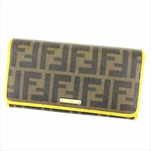 Fendi Wallet Purse Zucca Black Green Woman unisex Authentic Used T7120