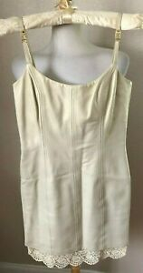 Designer ESCADA Genuine Leather Sheath Dress Size 34 (2) Pearl wLace Trim