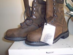 4414 BROWN REDWING BOOTS SIZE 8EE SAFETY TOE REDWING WATERPROOF ON SALE BST