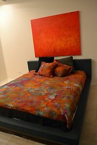 NEW Hand painted Orange Blue red pink purple Cotton Queen king DUVET Cover $850